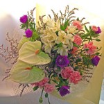 ストケシアとアンスリウムの花束