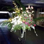 バラとオンシジウムのスタンド装花