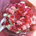 ゴデチアとスターチスの花束