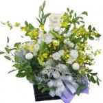 鉄砲百合とシャラツのお供え花