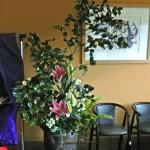 椿と百合の活け込花