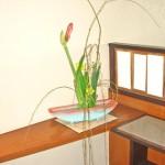 菜の花と枝垂れ柳のアレンジ