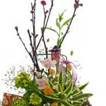 桃と菜の花の雛祭りアレンジ