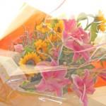 向日葵と百合の花束