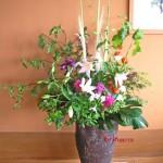 酸漿と百合の活け込花