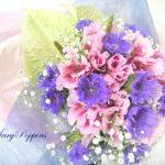 アンスリウムとストケシアの花束