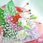 スイートピーとアンスリウムの花束