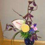 紫エンドウ豆とアンスリウム