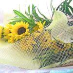 アンスリウムとヒマワリの花束