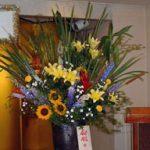 スカシユリとヒマワリの会場装花