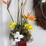 額草とストレリチアのアレンジ