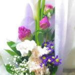カラーと都忘れの花束
