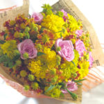 マリーゴールドとヘレニウムの花束