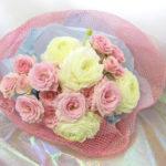 ラナンキュラスとミニバラの花束