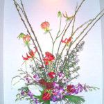 赤芽柳とグロリオーサ