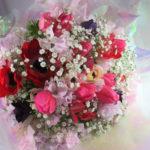 スイートピーとチューリップの花束