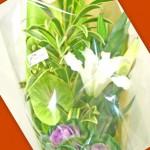 ハボタンと百合を使った花束