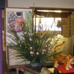 花エニシダとショウブのアレンジ