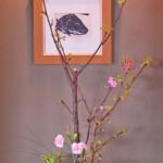 八重桜とカーネーションのアレンジ