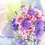 ゴデチアとストケシアの花束