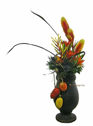カラスウリとチランジア(ファシクラータ)のアレンジ