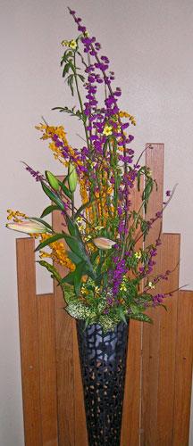 紫式部とウインターコスモスのアレンジ