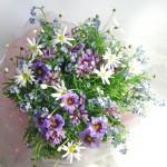 ワスレナグサとリューココリーネの花束