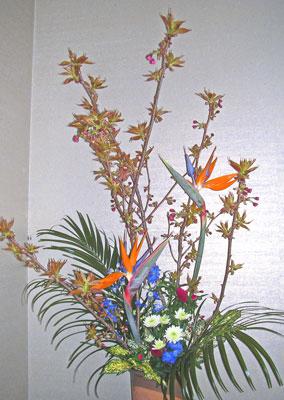 普賢桜とストレリチアのアレンジ
