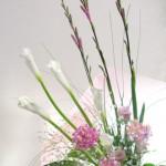 ワトソニアとカラーの花束