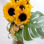 ポット付きヒマワリの花束