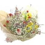 センニチコウと向日葵の花束