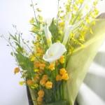 オンシジウムとサンダーソニアの花束