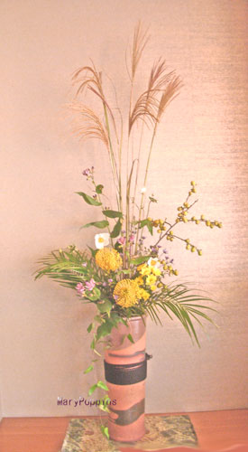 ススキと秋明菊