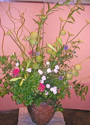 フウセントウワタを使った活け込の花