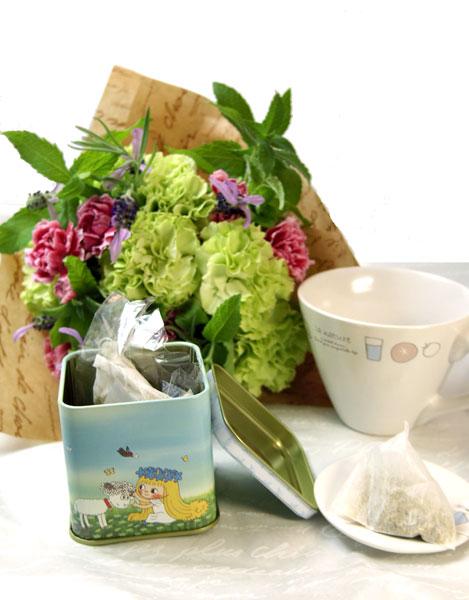 ハーブティセットとハーブの花束のギフトセット