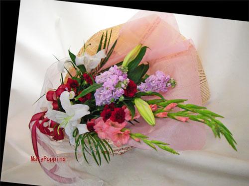 ストックとグラジオラスの花束
