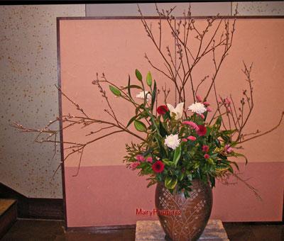 猫柳と山茶花のアレンジ
